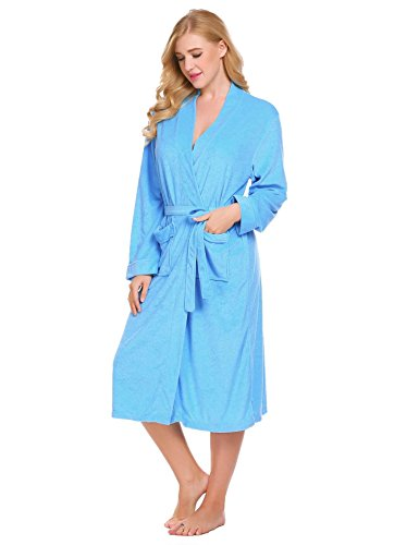 Corgy Women Robe Cotton Terry Lightweigt Belted Kimono Spa Bathrobe with Pockets by Corgy (Image #3)