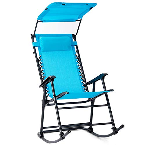 Clever Market Folding Rocking Chair Rocker Porch Zero Gravity Furniture W/Canopy Light Blue ()