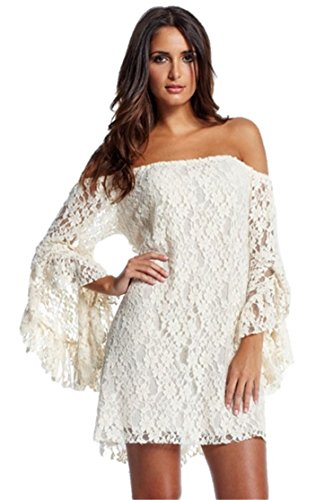 Women's Plus Size Cream Lace Off-The-Shoulder Cute Full Flare Sleeve Mini Dress (XX-Large, White) (Plus Size Fairy Dress)