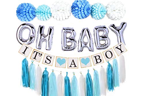 Gogoshel Baby Shower Decorations for Boy| OH BABY letters balloons| 6 pompoms| It's a Boy Banner| Blue Tasells| Blue Silver and Grey Baby Shower| Party Decorations| Blue backdrop|Centerpiece ()