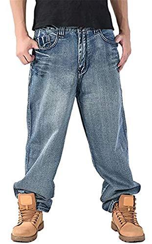 Men's Hip Hop Loose Fit Denim Jeans Cargo Baggy Jeans Pants Light Blue-4