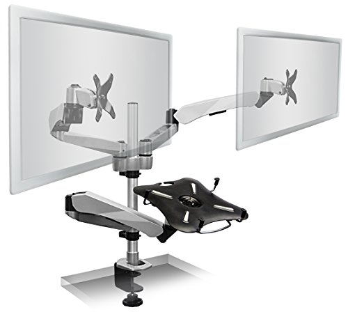 Mount-It! MI-75821 Dual Articulating, Tilting, Rotating, Swiveling Arm Desk Mounts for LCD, LED, TV, Flat Screens, and Computer Monitors Between 13 and 27 Inches with Tertiary Mount with Attached Cooling Fan Stand Supports Laptops, Tablets, and Notebooks u