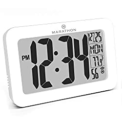 Marathon CL030033WH Commercial Grade Panoramic Atomic Wall Clock with Table Stand - Batteries Included, Color-White.
