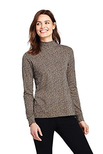 (Lands' End Women's Tall Relaxed Cotton Mock Turtleneck, L, Soft Camel Dots)