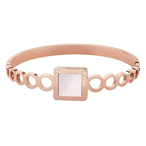 [Bishilin Womens Stainless Steel Square Mirror Circle Rose Gold Bracelet] (Solid Sterling Silver Square Braid)