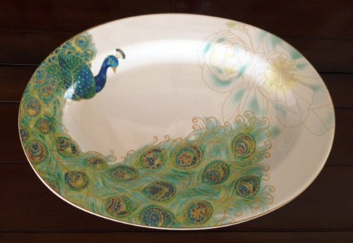 222 Fifth Serveware Lakshmi Peacock Fine Porcelain Large Ser