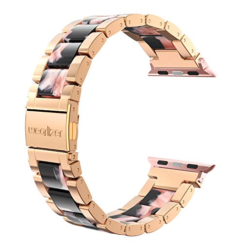 Wearlizer Black Pink Floral Compatible with Apple Watch Band 42mm 44mm for iWatch SE Womens Resin Block Replacement Stainless Steel Fashion Wristband Bracelet Metal Clasp Series 6 5 4 3 2 1 Sport