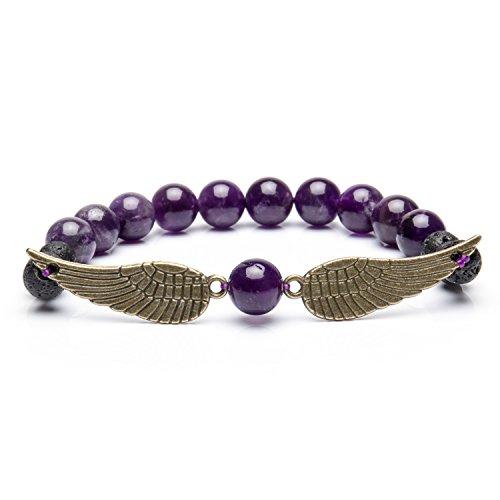 Bivei Guardian Angel's Wing Lava Rock Stone Essential Oil Diffuser Bracelet - Semi Precious Gemstone Beads Healing Crystal Bracelet Mother's Day Gift(Amethyst)