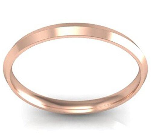 (tusakha 14K Rose Gold Plated 2mm Simple High Polish Comfort Thin-Gold-Knife-Edge Wedding Band Ring (6))