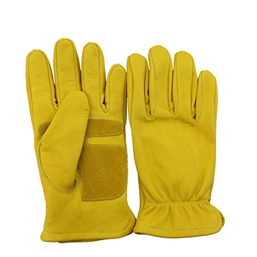 CEFULTY Leather Gloves Outdoor Sports Hiking Gloves Wear-Resistant Non-Slip Gloves Cycling Motorcycle Retro Driver Gloves (Color : Yellow)