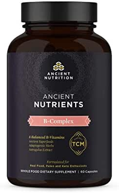 Ancient Nutrition, Ancient Nutrients B-Complex - 8 Balanced B-Vitamins, Adaptogenic Herbs, Enzyme Activated, Paleo & Keto Friendly, 60 Capsules…