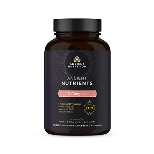 Ancient Nutrition, Ancient Nutrients B-Complex - 8 Balanced B-Vitamins, Adaptogenic Herbs, Enzyme Activated, Paleo & Keto Friendly, 60 Capsules