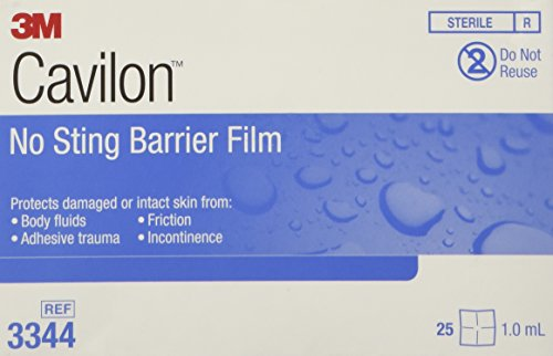 Cavilon No Sting Barrier Film, Wipe, No Alcohol, Sterile, 3344 - Box of 25 Barrier Rings Box