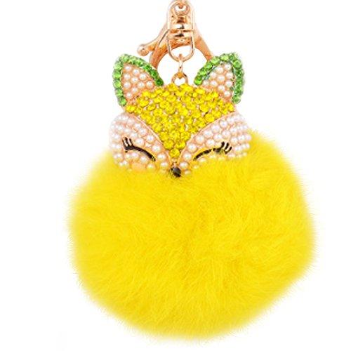 (Fluffy Keychain Fox Head Rhinestone Key Chain Rabbit Fur Hair Ball Keyring Creative Cell Phone Bag Car Plush Charm Pendant Decoration (Yellow))