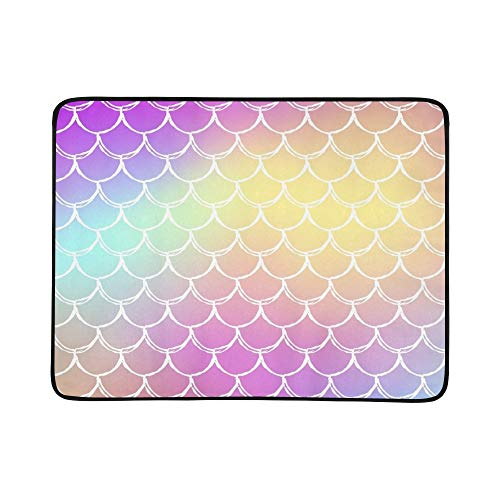 Mermaid Tale On Trendy Gradient Portable and Foldable Blanket Mat 60x78 Inch Handy Mat for Camping Picnic Beach Indoor Outdoor Travel