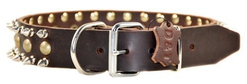"Dean and Tyler ""BUSINESS END"", Dog Collar with Nickel Spikes and Brass Studs – Brown – Size 26-Inch by 1-1/2-Inch, Fits Neck 24-Inch to 28-Inch"