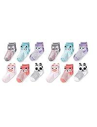Cherokee Little Girls - Calcetines cortos para niñas (12 unidades)