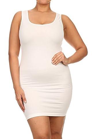 ICONOFLASH Women's Seamless Tank Dress, (Plus Size, White)