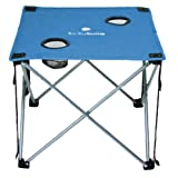 Lucky Bums Camp Table Folding Lightweight Compact Durable with Cup Holders and Carrying Bag, Blue.