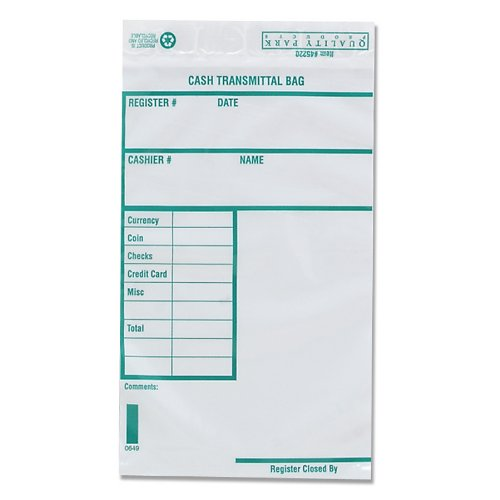 Quality Park Poly Cash Transmittal Bags, 6 x 9 Inches, Clear, Pack of 100 (45220)