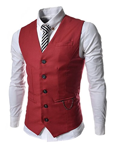 TheLees (RVE) Mens Chain Zipper Pocket 5 Button Slim Vest Waistcoat Red US M(Tag size XL) (5 Button Vest)