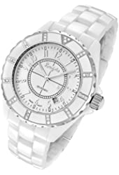 Rougois Women's High Tech White Ceramic Watch with 36 Genuine Diamonds