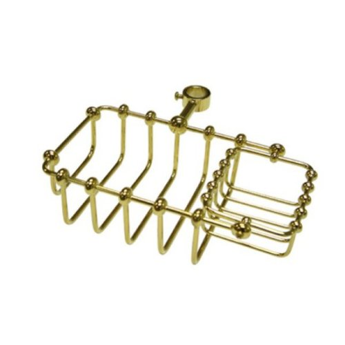 Kingston Brass CC2142 7-Inch Riser Mount Soap Basket for Clawfoot Tubs, Polished Brass (Riser Mount Soap Dish)