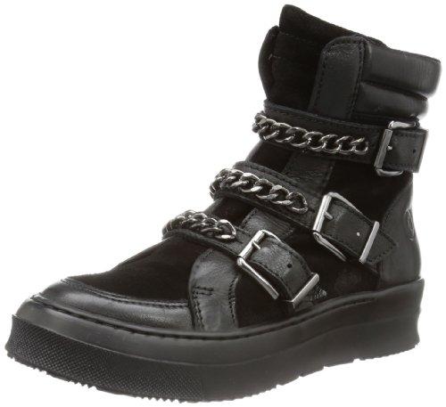 Bronx BX 572 - Biker Boots de cuero mujer negro - Schwarz (black/ dark silver 806)