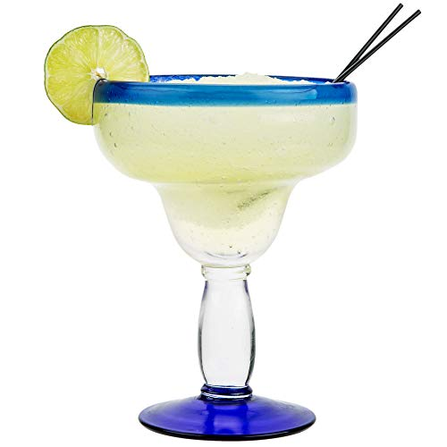Aruba Margarita Glass with Cobalt Blue Rim and Base, Case of 4 Libbey 92315 (Blue, 16) by ParcelReady Glassware (Image #1)