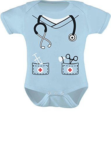 Tstars Infant Doctor, Nurse, Physician Halloween Easy Costume Cute Baby Bodysuit 18M Aqua -