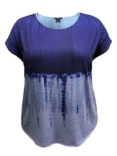 LEEBE Plus Size Dolman Short Sleeve Print Top (1X-5X) (2X, Blue Tie-Dye)