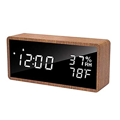 meross Digital Alarm Clock for Bedrooms, Real Wood, LED Display Desk Clock, Time Temperature Humidity, 3 Sets of Alarms… - Pure Wood Housing: The digital alarm clock comes with pure wood housing and looks aesthetically appealing. Perfect decoration for offices, living rooms and bedrooms. No Disturb: Enable the LED display auto off function, the LED display will auto off after 10s, which won't bother you while sleeping at night. The digital clock has sound control function. Any tap and sound over 60 dB within close distance will wake up the LED alarm clock. The LED clock has 3 levels of brightness with premium quality of lighting. You can choose the most comfortable brightness for your eyes. USB Powered: This desk alarm clock is powered by USB charger(Adapter/Connector is not included). Any 5V/1A or above adapters will work with the digital alarm clock. More energy efficient, more environmentally friendly. - clocks, bedroom-decor, bedroom - 41O2SbpN2XL. SS400  -
