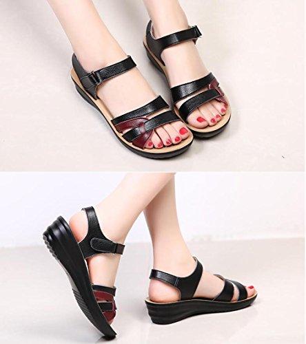 Zapatos de mediana edad de las mujeres con el medio de las sandalias de mediana edad de mediana edad sandalias suaves sandalias de verano 3