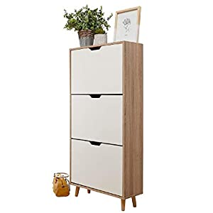 Stockholm Two & Three Tier Shoe Cabinets – White & Oak