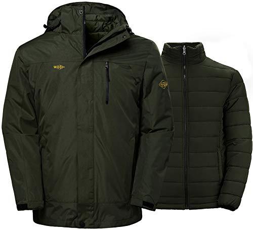Wantdo Men's 3-in-1 Jacket Soft Shell Snowboarding Coat Raincoat Army Green L