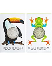 The Konjac Sponge Company Mini Pore Refiner Gift Set - Toucan and Frog, (Pack of 2)