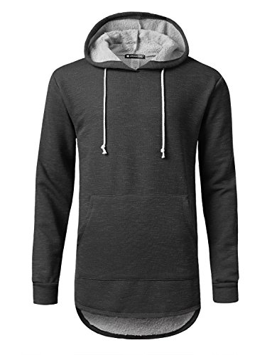 URBANCREWS Mens Hipster Hip Hop Fleece French Terry Pullover Hoody Black, S