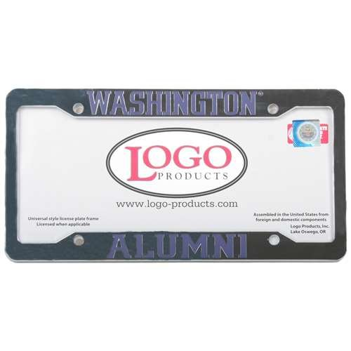 Logo Products Washington Huskies Alumni Chrome Plastic License Plate Frame