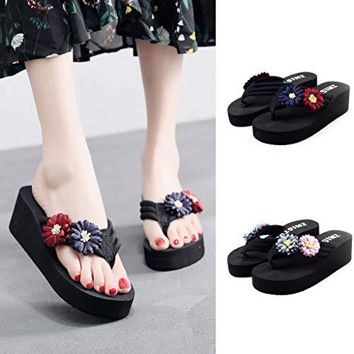 Abierta Sandalias Azul Hogar Zapatos Flores Compras Zapatillas Elegantes 5 Banquete De Mujeres Cm Con Punta Mujer flop Cuñas Cómodas Verano Flip Plataforma 1BqROwP
