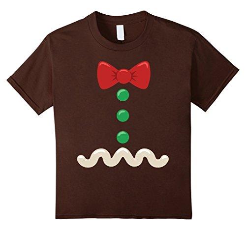 Kids Gingerbread Man Christmas Costume T-Shirt 10 Brown