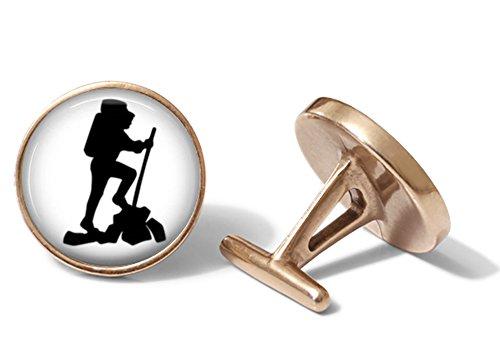 Hiker Backpacker Mountaineer Cufflinks (Solid Bronze) ()