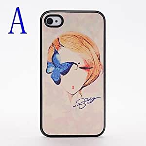 hao Fashion Girl Pattern Pasting Skin Plastic Case for iPhone 4/4S , A
