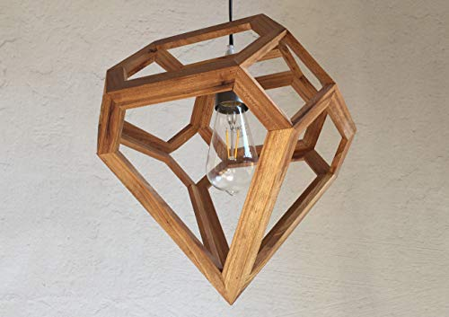 NARVI pendant lamp in oak, table lamp, diamond ()
