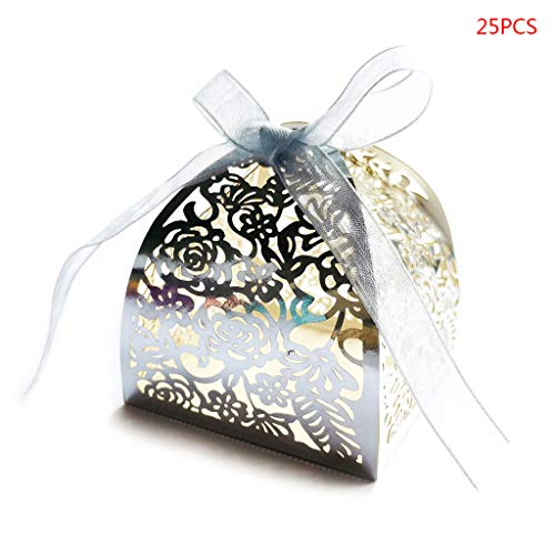 yangerous 25PCS Rose Flower Favor Boxes 2.36''x2.36''x2.36'' with Ribbon, Laser Cut Candy Boxes Bulk Gifts for Wedding Baby Shower Baptism