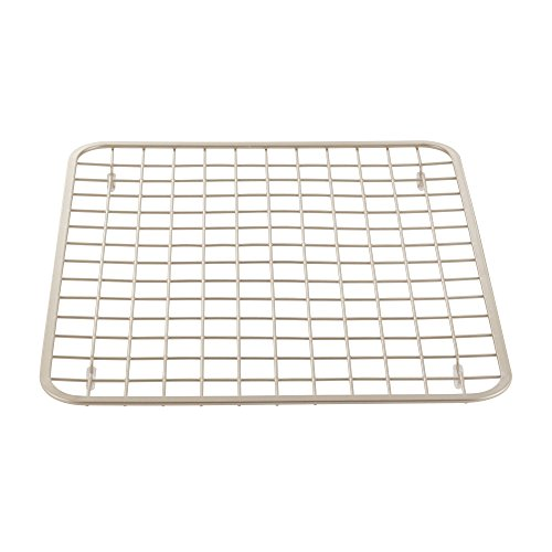 mDesign Modern Kitchen Sink Metal Dish Drying Rack/Mat - Steel Wire Grid Design - Allows Wine Glasses, Mugs, Bowls and Dishes to Drain in Sink - Steel, Satin