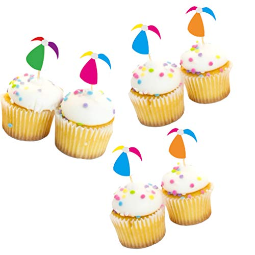 LJCL Beach Ball Cupcake Toppers Picks,Table Centerpieces,Summer Party Cake Decorations,20Ct