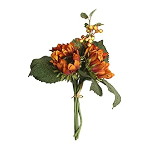 Longay Artificial Silk Flower Bouquet Home Floral Decor 1 Bunch Beauty Fake Sunflower (Orange) 50