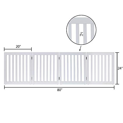 unipaws Freestanding Wooden Dog Gate, Foldable Pet Gate with 2PCS Support Feet Dog Barrier Indoor Pet Gate Panels for Stairs by unipaws (Image #4)