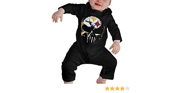 TCJX Skull Pittsburgh Steelers Kids Baby Unisex Cotton Cute Long Sleeve Hooded Romper Jumpsuit Baby Crawler Clothes Black