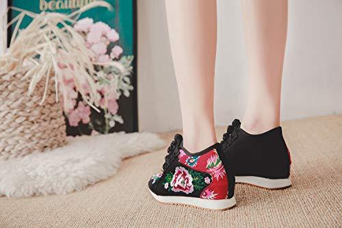 Ricamo Cuneo Casuali Del Delle Da Tennis Sneakers Scarpe Corte Black Aumentate Corta Di shortplush Fiore Donne qrxPrw